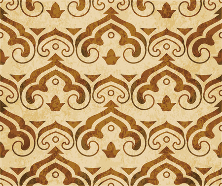 Retro brown watercolor texture grunge seamless background Chinese curve spiral cross frame Stock Vector - 88751618