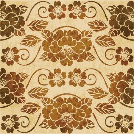 Retro brown watercolor texture grunge seamless background garden curve spiral vine flower Stock Vector - 88751626