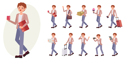 Cartoon character design male man collection in ten different pose and gesture.