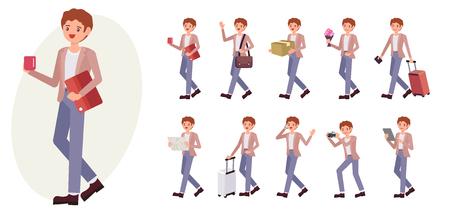 Raccolta dell'uomo maschio di progettazione del personaggio dei cartoni animati in dieci posa e gesto differenti. Archivio Fotografico - 92480833