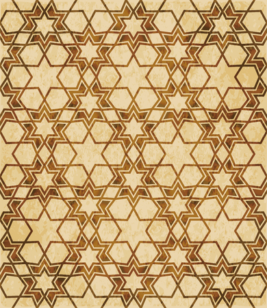 Retro brown Islam seamless geometry pattern background eastern style ornament.