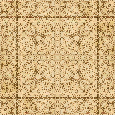 Retro brown Islam seamless geometry pattern background. Eastern style ornament.