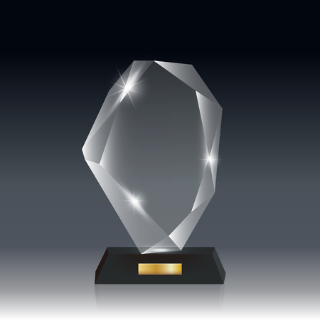 Transparent Realistic Blank Vector Acrylic Glass Trophy Award