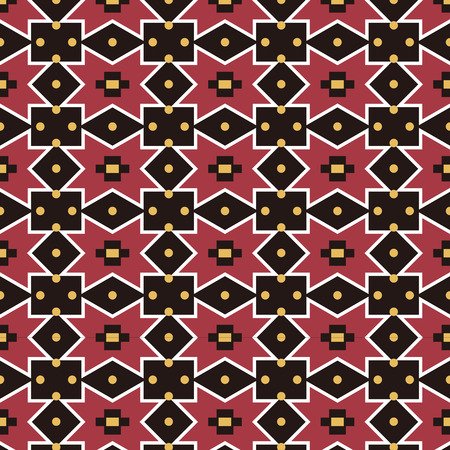 Seamless background southeast Asian retro aboriginal traditional art textile pattern star diamond check geometry dot flower Ilustração
