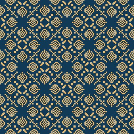 Seamless background southeast Asian retro aboriginal traditional art textile pattern square mosaic cross geometry  イラスト・ベクター素材