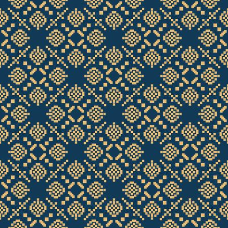 Seamless background southeast Asian retro aboriginal traditional art textile pattern square mosaic cross geometry Illustration