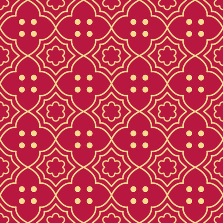 Seamless background southeast Asian retro aboriginal traditional art textile pattern curve cross frame round dot flower  イラスト・ベクター素材