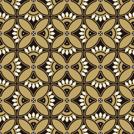 Seamless background southeast Asian retro aboriginal traditional art textile pattern round curve cross flower petals frame  イラスト・ベクター素材