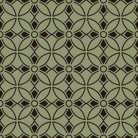 Seamless background southeast Asian retro aboriginal traditional art textile pattern round curve cross frame line flower