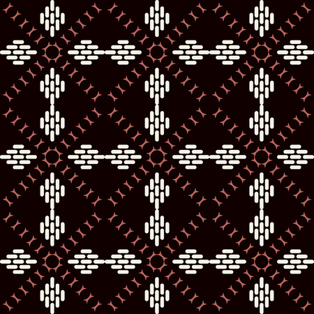 Seamless background southeast Asian retro aboriginal traditional art textile pattern curve check cross frame geometry