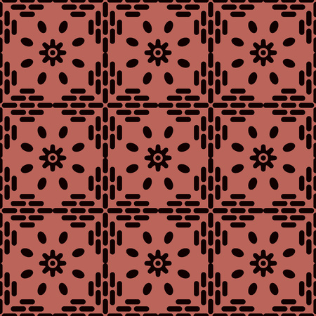 Seamless background southeast Asian retro aboriginal traditional art textile pattern round cross frame line flower