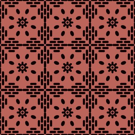 Seamless background southeast Asian retro aboriginal traditional art textile pattern round cross frame line flower