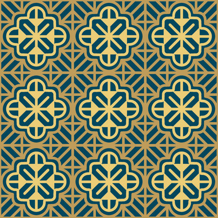 Seamless background southeast Asian retro aboriginal traditional art textile pattern curve cross frame line flower