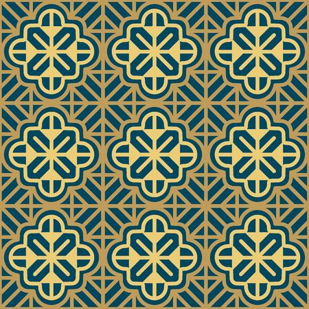 Seamless background southeast Asian retro aboriginal traditional art textile pattern curve cross frame line flower