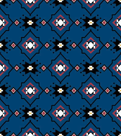 Seamless background southeast Asian retro aboriginal traditional art textile pattern star cross frame square check flower