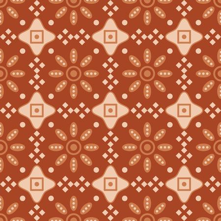 Seamless background southeast Asian retro aboriginal traditional art textile pattern round check cross frame flower Vettoriali