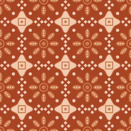 Seamless background southeast Asian retro aboriginal traditional art textile pattern round check cross frame flower 矢量图像