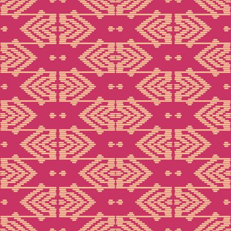 Seamless background southeast Asian retro aboriginal traditional art textile pattern geometry cross line frame Illustration