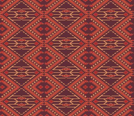Seamless background southeast Asian retro aboriginal traditional art textile pattern check cross frame line stitch
