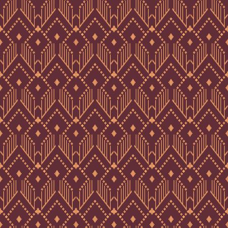 Seamless background southeast Asian retro aboriginal traditional art textile pattern stitch line check polygon geometry Illustration
