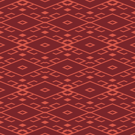 Seamless background southeast Asian retro aboriginal traditional art textile pattern diamond check geometry cross tracery frame line