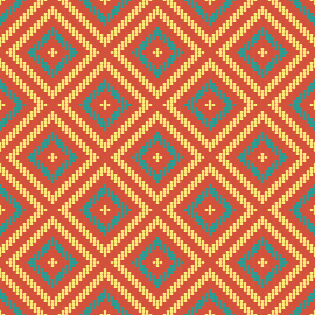 Seamless background southeast Asian retro aboriginal traditional art textile pattern round corner line cross check square frame  イラスト・ベクター素材