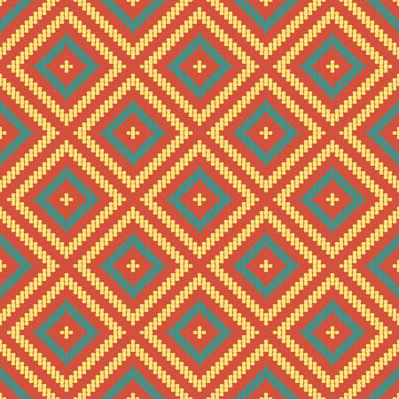 Seamless background southeast Asian retro aboriginal traditional art textile pattern round corner line cross check square frame 일러스트