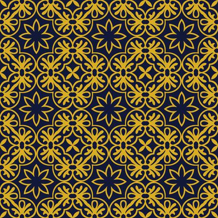 Vector damask seamless pattern background round spiral golden cross frame flower