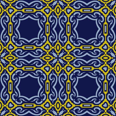 Vector damask seamless pattern background polygon spiral curve square cross frame Illustration