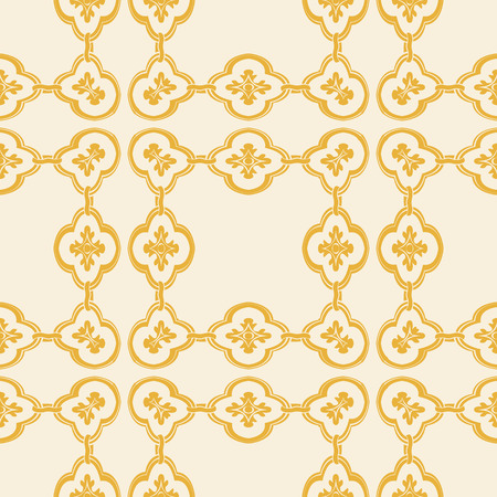 Vector damask seamless pattern background curve square cross frame chain flower
