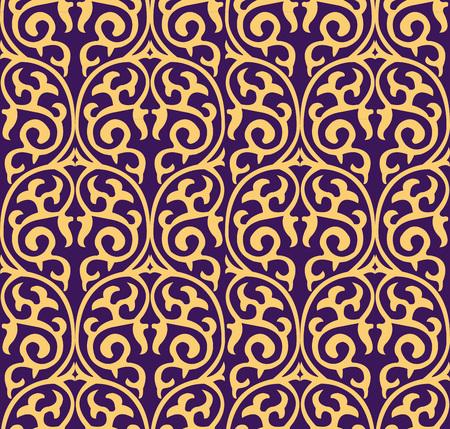Vector damask seamless pattern background round curve spiral cross frame nature vine