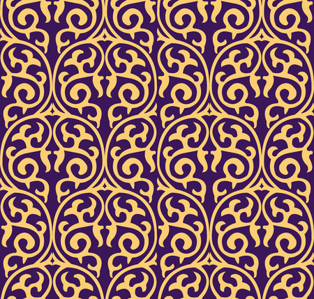Vector damask seamless pattern background round curve spiral cross frame nature vine