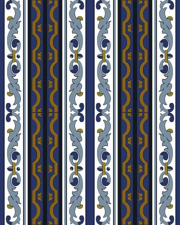 Vector damask seamless pattern background spiral curve cross blue frame line Illusztráció