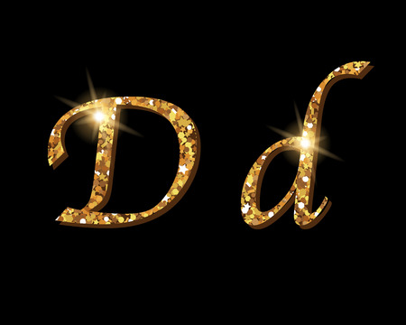 Shinning golden luxury typographic font of letter D on black background.
