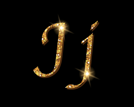 Shinning golden luxury typographic font of letter J on black background.
