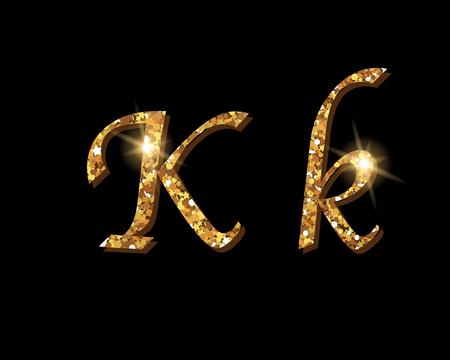 Shinning golden luxury typographic font of letter K on black background. Ilustrace