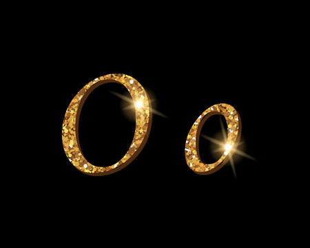 Shinning golden luxury typographic font of letter O on black background.