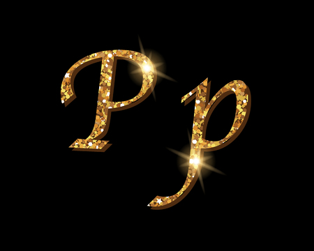 Shinning golden luxury typographic font of letter P on black background.