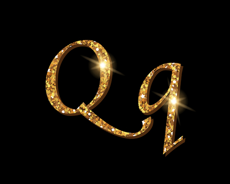Shinning golden luxury typographic font of letter Q on black background.
