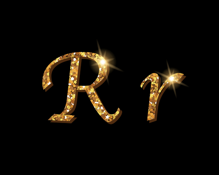 Shinning golden luxury typographic font of letter R on black background. 矢量图像