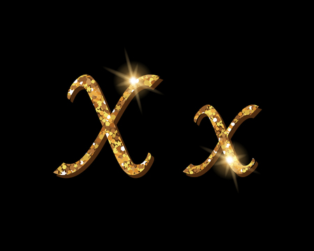 Shinning golden luxury typographic font of letter X on black background.