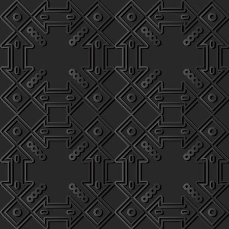3D dark paper art Check Square Cross Frame Dot Line, Vector stylish decoration pattern background for web banner greeting card design
