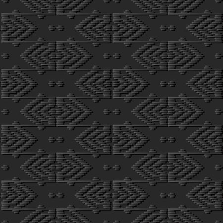 3D dark paper art Geometry Polygon Cross Stitch Line Frame, Vector stylish decoration pattern background for web banner greeting card design
