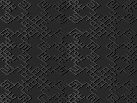 3D dark paper art Spiral Cross Frame Polygon Frame Line, Vector stylish decoration pattern background for web banner greeting card design