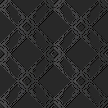 3D dark paper art Square Check Cross Frame Geometry Line, Vector stylish decoration pattern background for web banner greeting card design