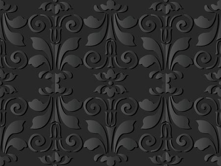 3D dark paper art Curve Spiral Vortex Leaf Flower, Vector stylish decoration pattern background for web banner greeting card design