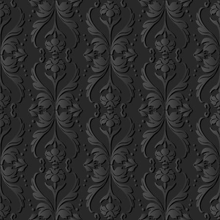 3D dark paper art Curve Wave Cross Dot Line Leaf Flower, Vector stylish decoration pattern background for web banner greeting card design