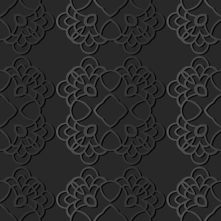 3D dark paper art Curve Round Check Cross Crest Frame, Vector stylish decoration pattern background for web banner greeting card design