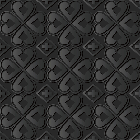 3D dark paper art Curve Heart Cross Clover Leaf, Vector stylish decoration pattern background for web banner greeting card design Illustration