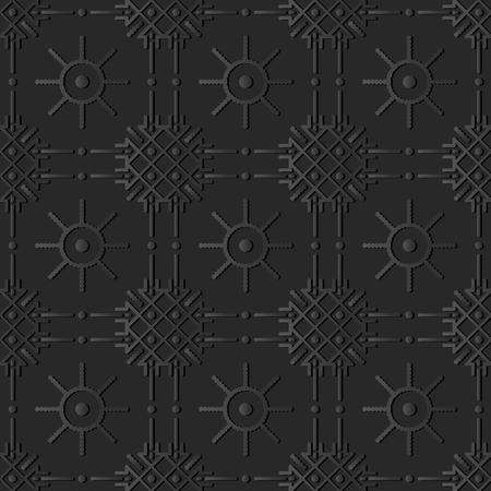 3D dark paper art Check Cross Round Dot Line Flower, Vector stylish decoration pattern background for web banner greeting card design